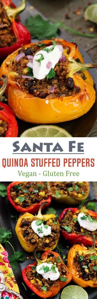 These vegan Quinoa Stuffed Peppers are Savory, smoky, subtly sweet & satisfying. Gluten-free too! Santa Fe Quinoa Stuffed Peppers (Vegan + GF) - http://veganhuggs.com/quinoa-stuffed-peppers/