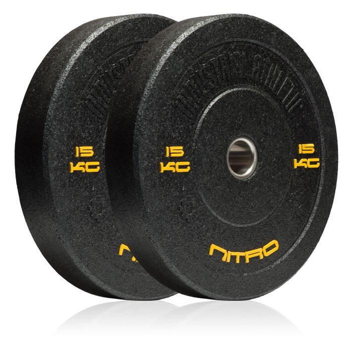 15KG Nitro Bumper Plates - Pair. Recycled Crumb Rubber Olympic Bumper Plates, with chemically bonded 10mm steel inserts.  Medium bounce, and great durability.  Hard-core styling in black.  Bumper plates allow you to safely drop any load from the waist, chest, or even overhead with the confidence that you will not damage yourself, or your equipment.