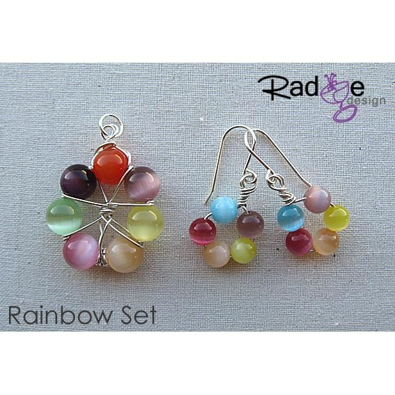 $84 Rainbow Set silver and glass by radgedesign on Handmade Australia