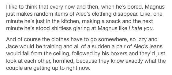 When Magnus is Bored. Also I started reading this in the living room and I had to slap my hand over my mouth to stop from laughing and sighing in happiness.
