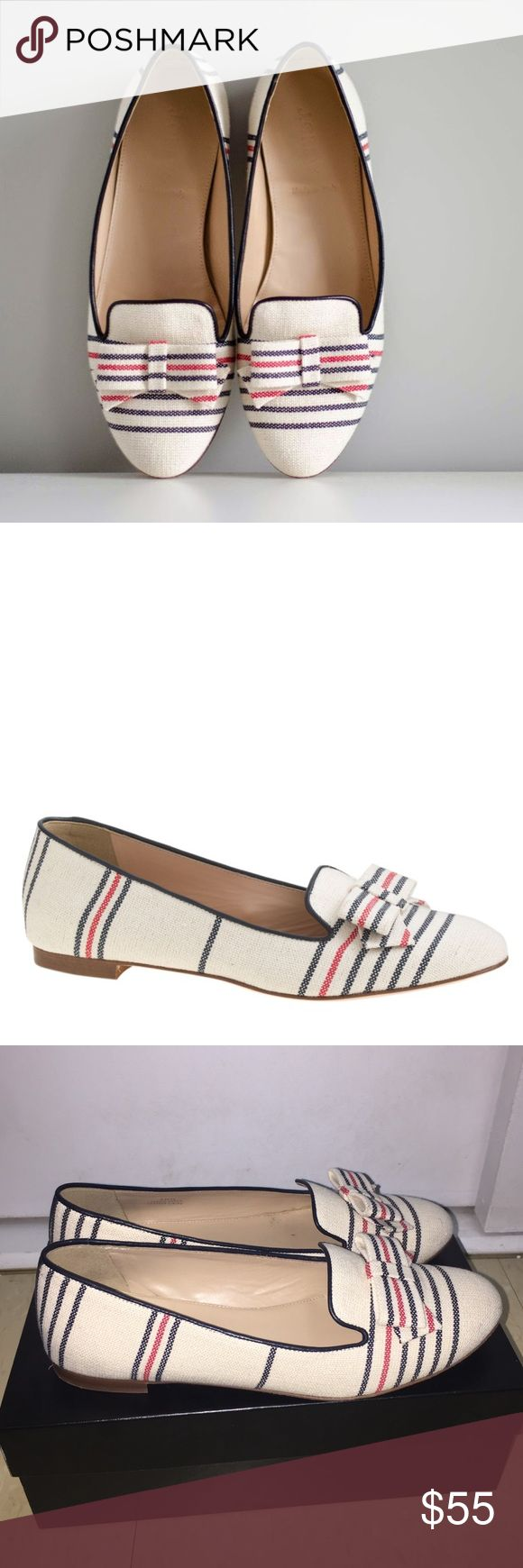 J.Crew Cleo Stripe Canvas Loafers in Sandy Reef A feminine spin on the classic gentleman's smoking slipper. We recast it in a slimmer, more flattering silhouette in our signature prints and colors.  Cotton/acrylic/poly upper. Leather lining and sole. Made in Italy. Worn once, in like-new condition J. Crew Shoes Flats & Loafers