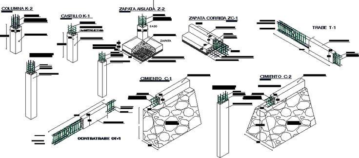 Detalles constructivos - cimientos (dwgDibujo de Autocad)