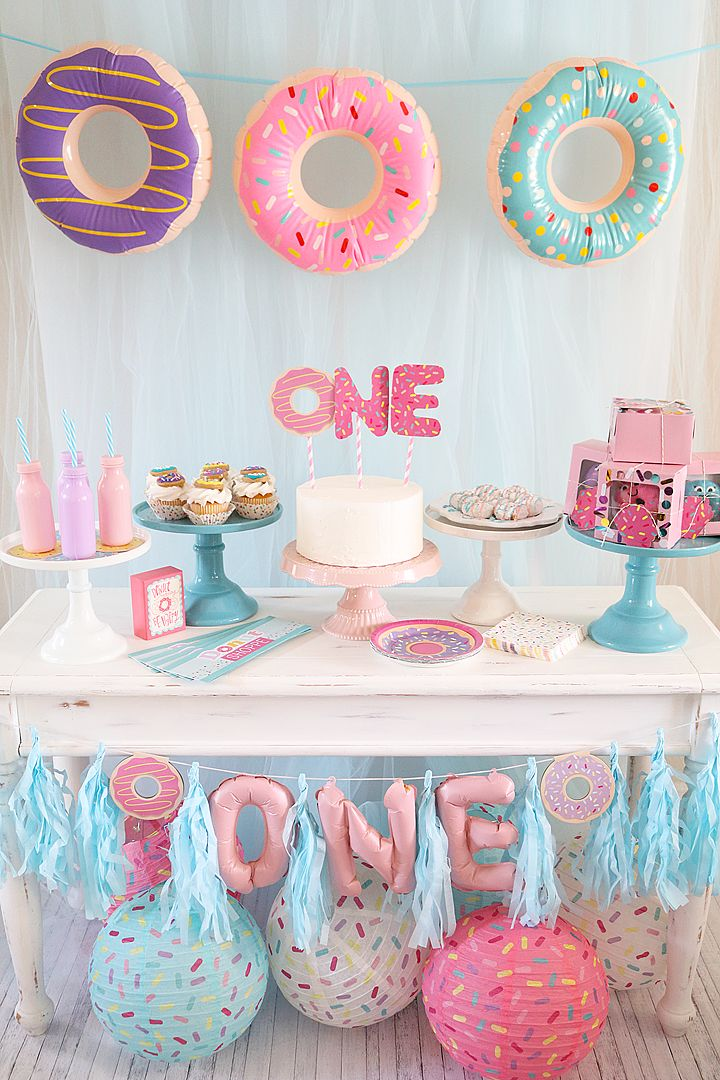 Yummy dessert table for my baby girls 1st birthday party