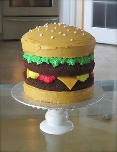 """Cheeseburger"" cake! I could eat a cheeseburger if it was vegan pie. - Kids Stuff - #Cheeseburger #one #es #food #i"