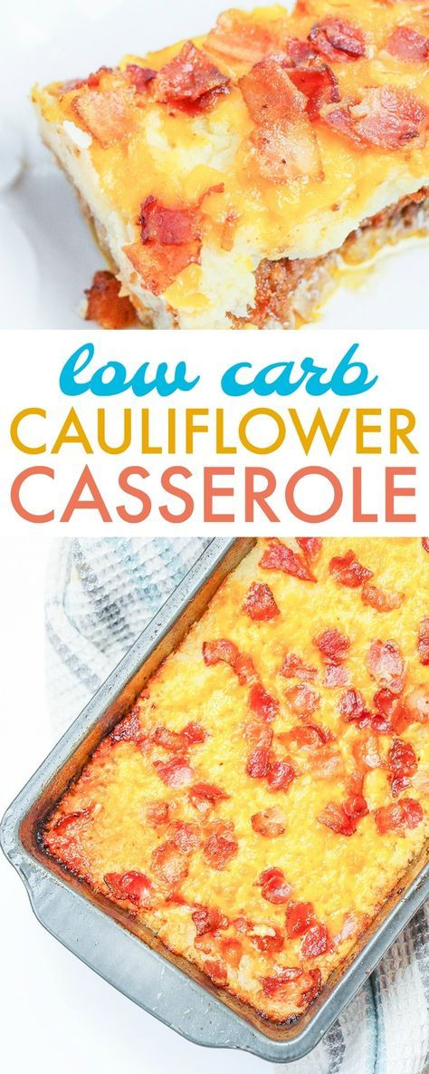 This loaded cauliflower casserole is a healthier baked casserole meatloaf style dish. It's a low carb cauliflower casserole so it's great for keto diets and anyone looking for healthy options. Easy to make ahead of time and even freeze for a future dinner. #lowcarb #keto #casserole #dinner