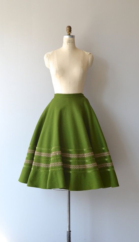 Olea skirt 1950s felted wool skirt vintage 50s by DearGolden