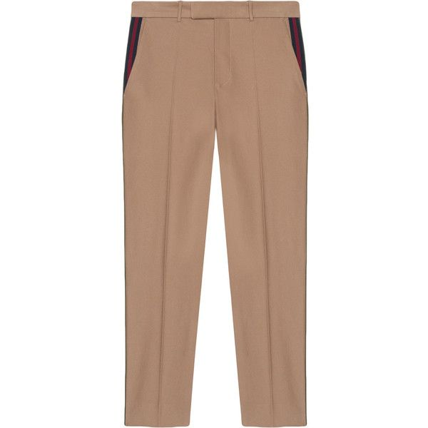 Gucci Cotton 60s pant with Web (13,215 MXN) ❤ liked on Polyvore featuring men's fashion, men's clothing, men's pants, men's casual pants, green, mens striped pants, mens green pants, gucci mens pants, mens cotton pants and men's 5 pocket pants