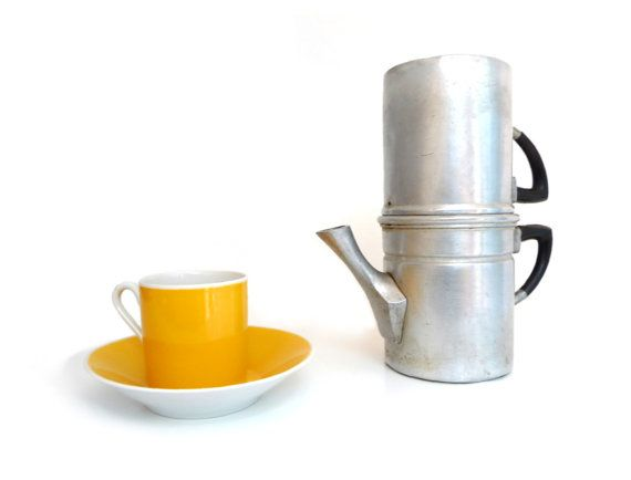 RESERVED - Vintage aluminum coffee maker - Neapolitan flip coffee pot - 4 / 5 cups - Mid Century ...