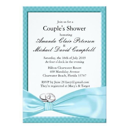 Tiffany Blue Bow Wedding Bangs Couple Shower Card