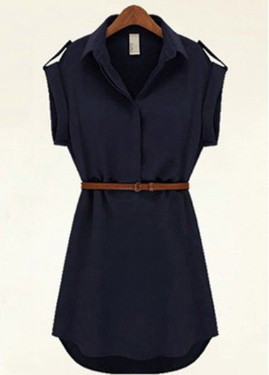 Turndown Collar Chiffon Navy Blue Dress on sale only US$18.93 now, buy cheap Turndown Collar Chiffon Navy Blue Dress at lulugal.com