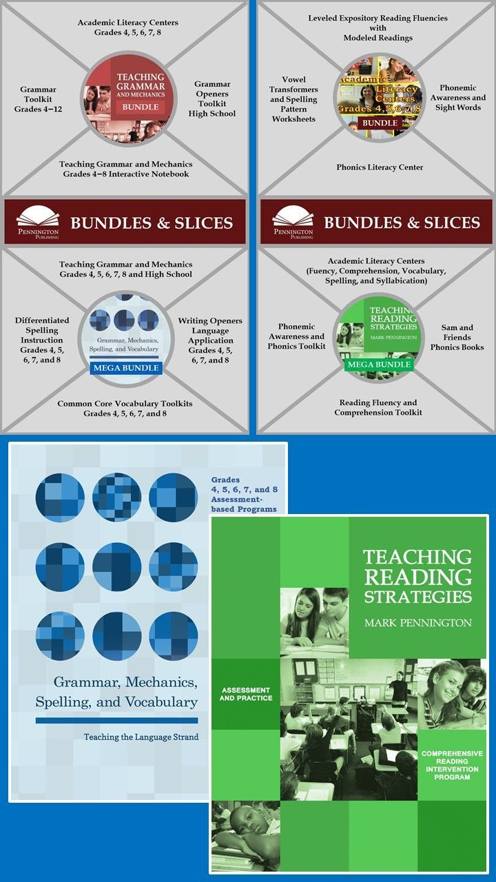 The Teaching Reading Strategies and Sam and Friends Phonics Books PROGRAM BUNDLE is designed for non-readers or below grade level readers with low fluency, poor comprehension, and lack of decoding skills.  Grades 4, 5, 6, 7, and 8 Grammar, Mechanics, Spelling, and Vocabulary is the MEGA BUNDLE designed to teach all CCSS Language Strand Standards. The Teaching Grammar and Mechanics BUNDLE is also available for high school.