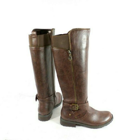 """G by Guess Halsey Brown Riding Boots Thanks for viewing my listing. I take all my own pics. The boots are authentic and new in box. The boots have man made upper with 1.5"""" heel, 15"""" shaft, and 15"""" calf opening circumference. G by Guess Shoes"""