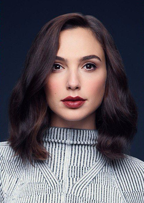 "Groomed brows and eyes with a berry lip. Fall? Gal Gadot for ""IO Donna"" 2017"