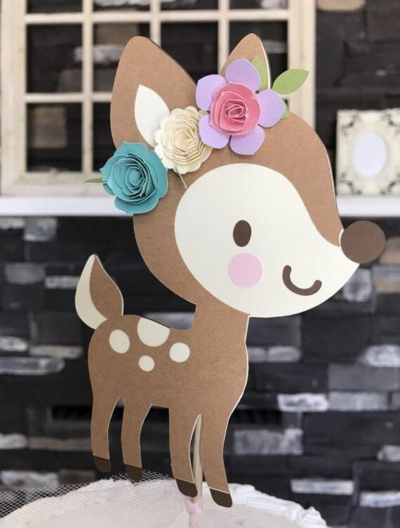Deer cake topper , our little deer , oh deer , baby shower , forest friends party