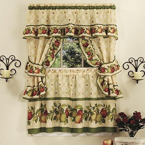 24 Inch Apple Orchard Printed Kitchen Tier Set Red Color Fruits Colorful Frills Novelty Pattern Country Antique Vintage Traditional Valance Tiebacks