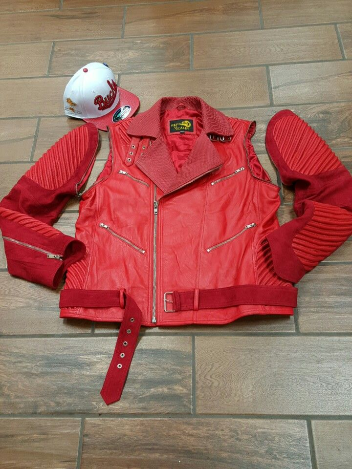 Reps&scales removable sleeves moto with snakeskin leather