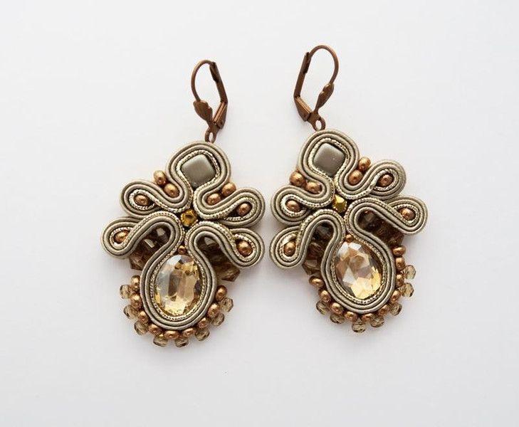 Golden soutache earrings with crystal from Anna Zukowska by DaWanda.com