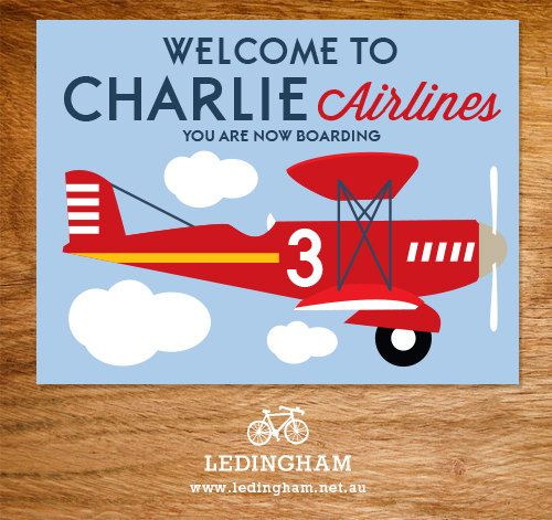 Airline Plane Welcome Poster Personalised by LedinghamShop on Etsy