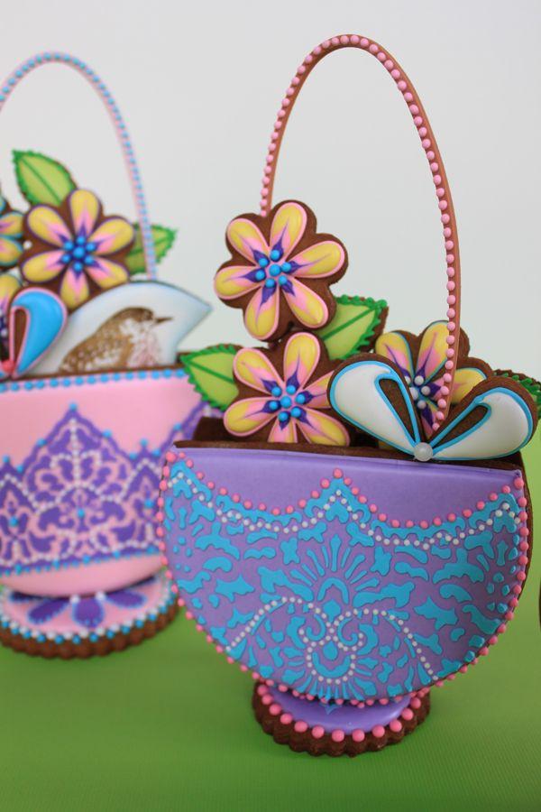 Purple Stenciled 3-D Easter Basket Cookie by Julia M. Usher, www.juliausher.com