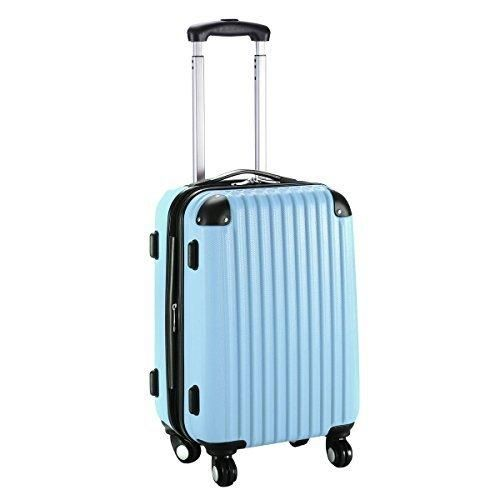 "Goplus New GLOBALWAY 20"" Expandable ABS Carry On Luggage Travel Bag Trolley Suitcase (Light Blue)"