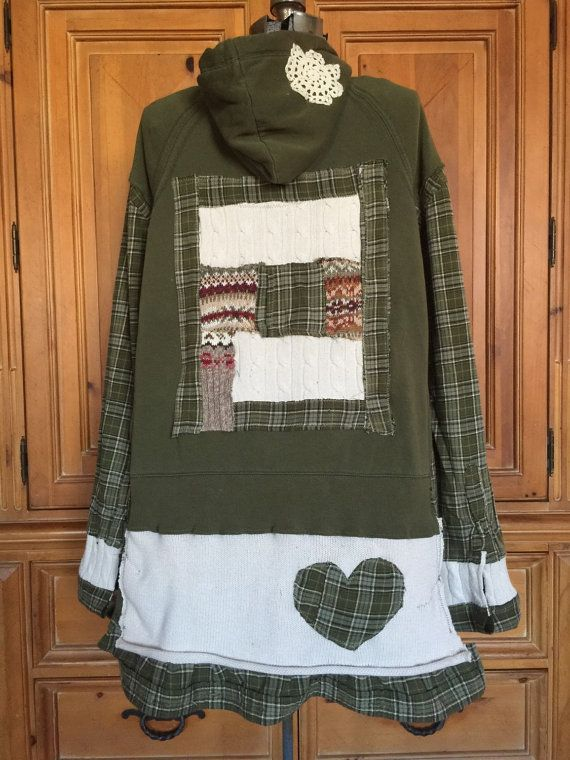Upcycled Boho Junk Gypsy Appliqué Patchwork Rustic Woodland Hoodie - Olive Green Plaid Flannel - size Large to Plus by CathrineAnn