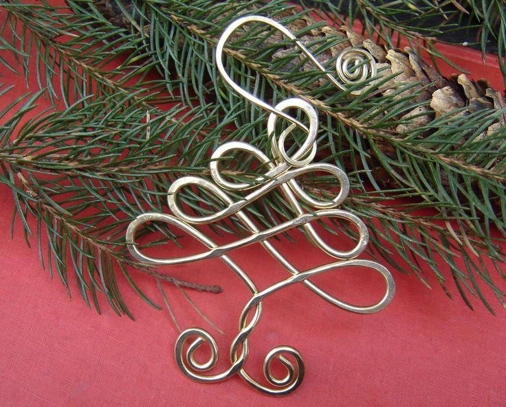 Celtic Tree Christmas Ornament - Holiday Ornament - Brass Wire - Handmade Gift. $16.00, via Etsy.