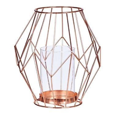 Universal Wire & Glass Hurricane Lamp Rose Gold