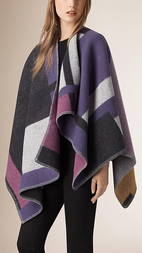 burberry mauve pink check wool and cashmere blanket poncho a check blanket poncho crafted in