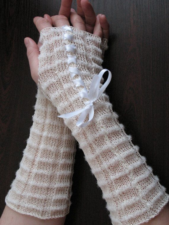 White Fingerless Gloves lace Long Arm Warmers for by Initasworks, $32.00