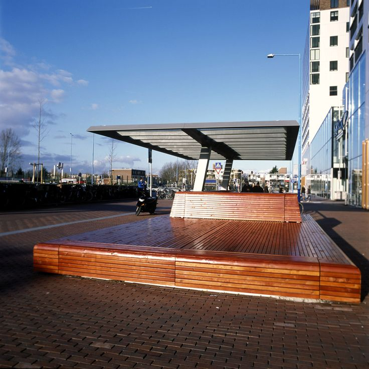 canopy combined with bench for waiting area for Zoetermeer. Design by ipv Delft
