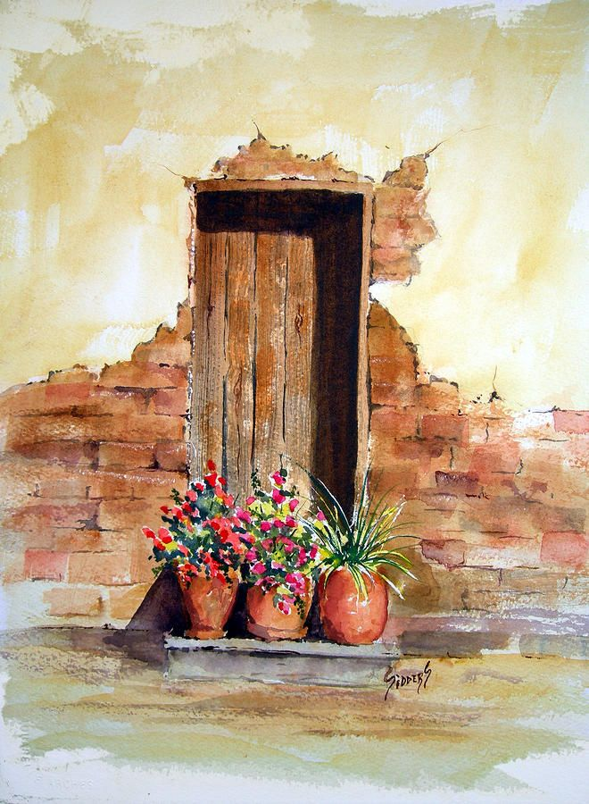 Door With Pots Painting by Sam Sidders - Door With Pots Fine Art Prints and Posters for Sale