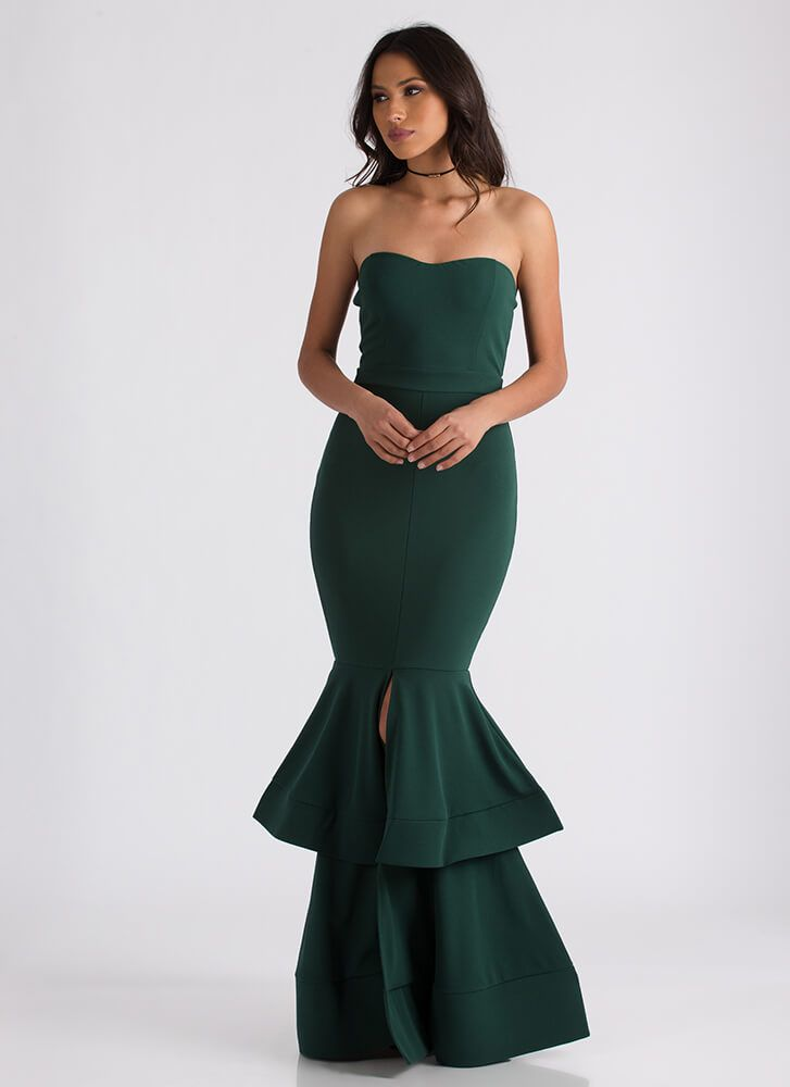 Brought To Tiers Strapless Mermaid Maxi HUNTERGREEN TOMATO - GoJane.com