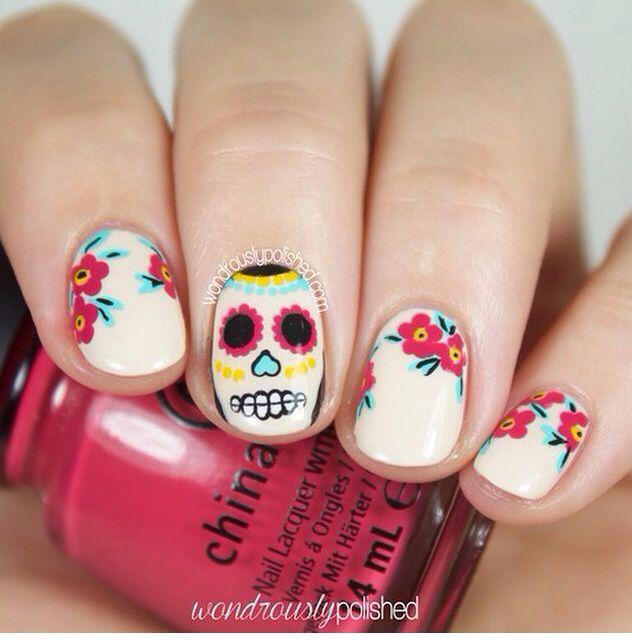 Day Of The Dead sugar skull nails   Nails Inspo   Pinterest   Sugar skull  nails, Skull nails and Mani pedi - Day Of The Dead Sugar Skull Nails Nails Inspo Pinterest Sugar