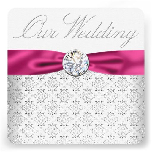 Damask Silver And Hot Pink Wedding Invitations Pinterest Weddings Damasks