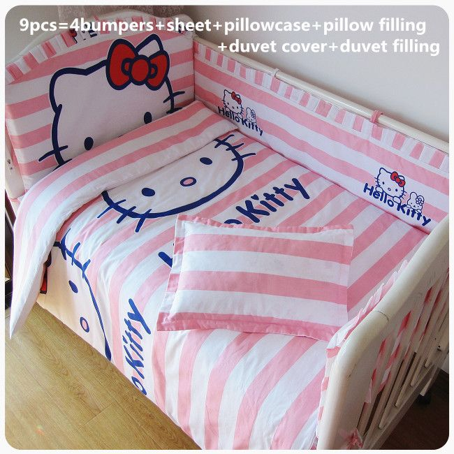 2016! 6/7/9PCS Hello Kitty Baby Bed Accessories Cheap Baby Crib Bedding Cotton Set Baby Bedding Set Duvet Cover,120*60/120*70cm