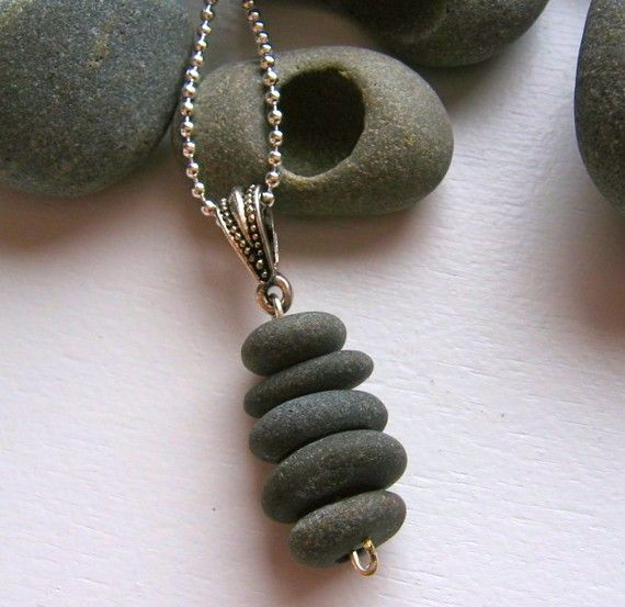 Stacked Lake Superior Basalt Zen Stone Necklace Pendant