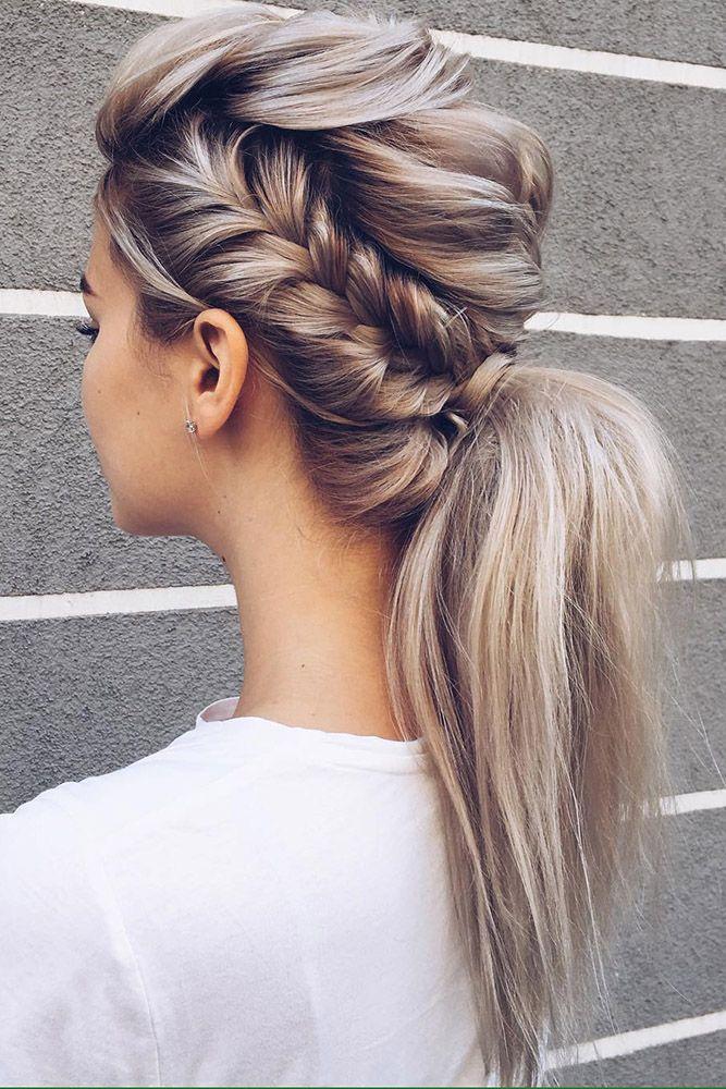 Hochzeitsfrisuren für langes Haar, elegante Zöpfe und geraden blonden Pferdeschwanz ... #blond #elegant #gerade # Hochzeitsfrisuren