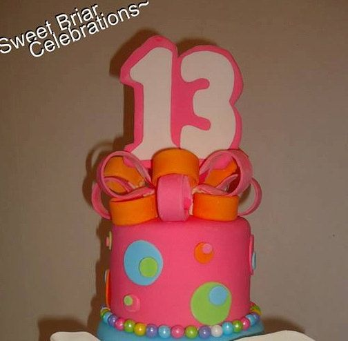 Custom Made Number Birthday Cake Topper with EXTRA! 10 Mini Matching Bow Loops! Fondant by SweetBriarCelebrates on Etsy