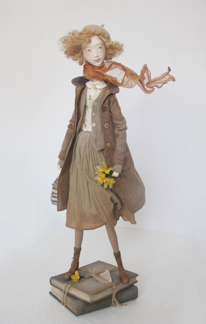 Anna Zueva's Zoe doll is created on a podium of authentic vintage books and her clothes are completely handmade. | Art Doll Quarterly