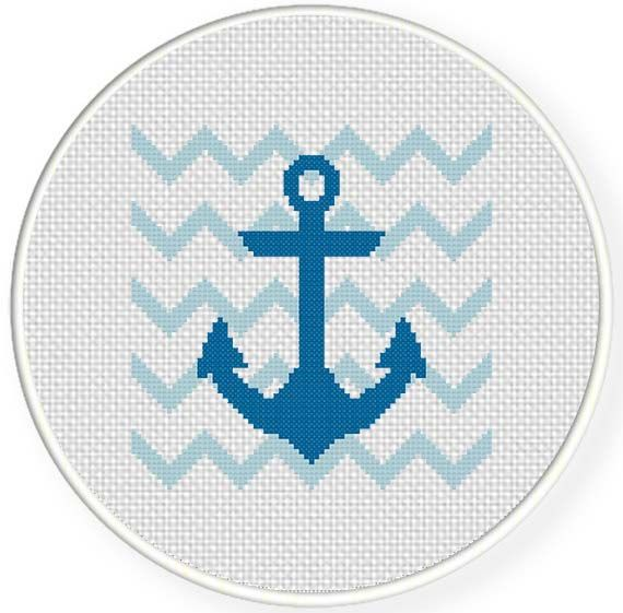 Blue Anchor Cross Stitch Pattern