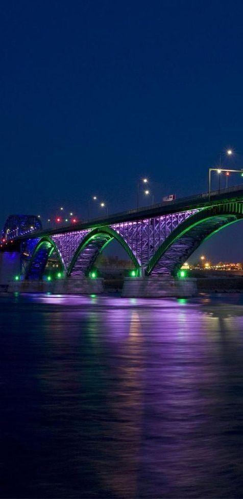 Peace Bridge crossing the Niagara River from Buffalo, NY to Canada