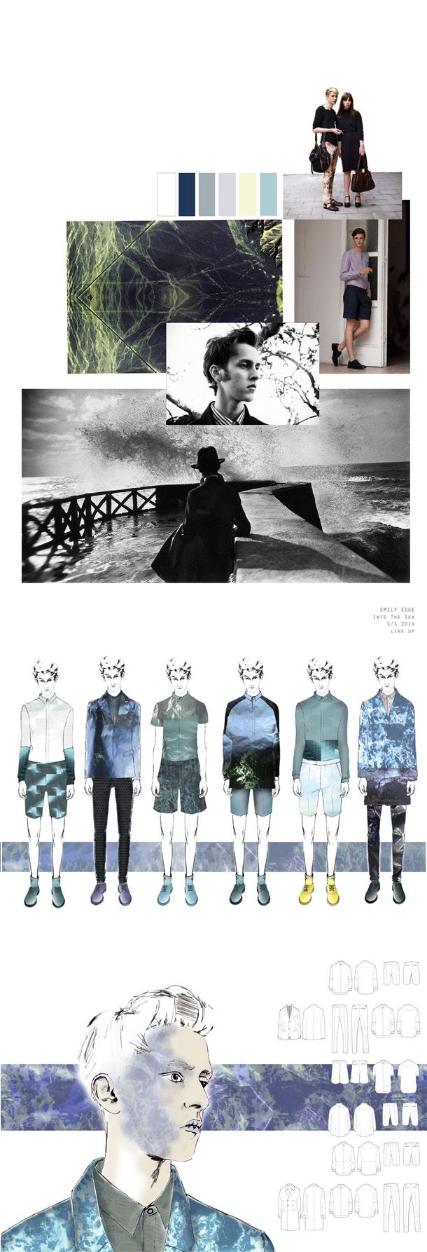 Fashion Portfolio layout - fashion design development with sea-inspired prints - fashion mood board; fashion sketchbook; lineup; fashion illustration // Emily Edge