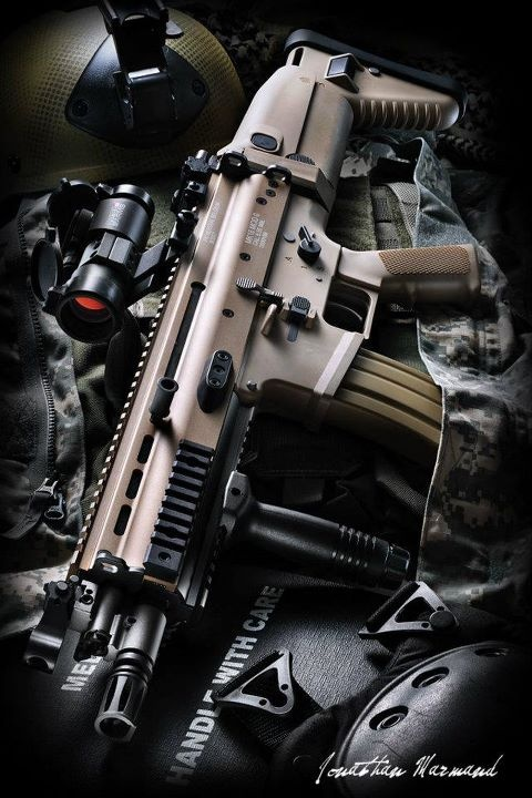 """SCAR-L: Combat Assault Rifle - L for """"light"""" using the 5.56x45mm Nato round vs the SCAR-H with uses the 7.62x51mm NATO"""