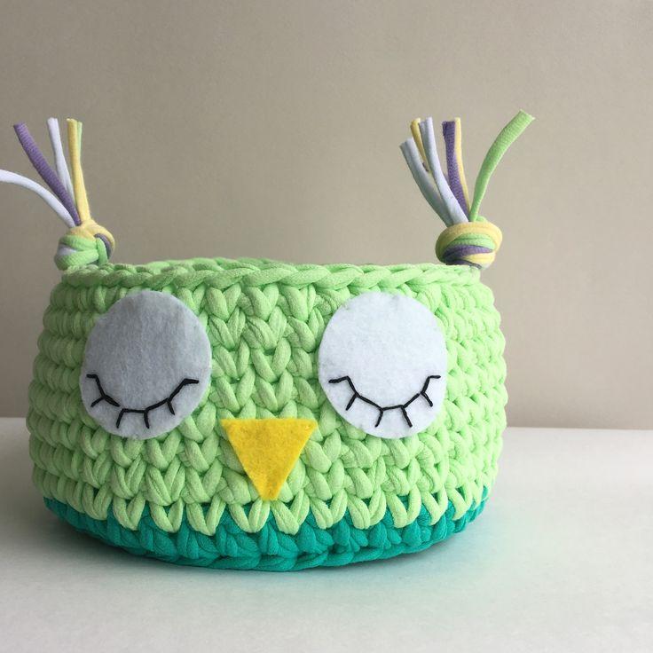 Корзинка совушка, интерьерные корзины, сова, совушка, вязание крючком, crochet basket