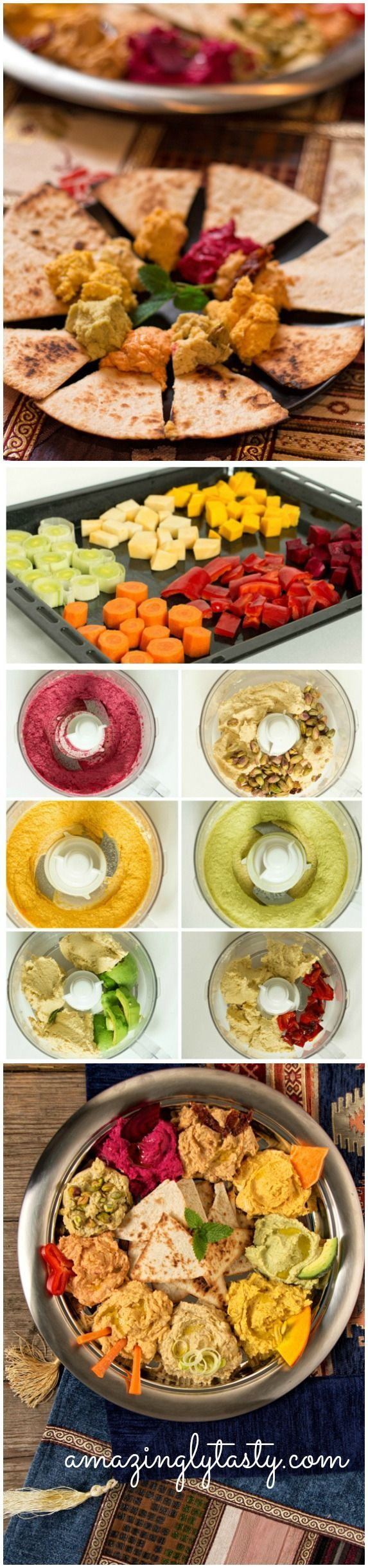 9 Hummus Variations including beetroot, leek, avocado, sweet potato, pistachio, sun dried tomato, carrot and bell pepper hummus.