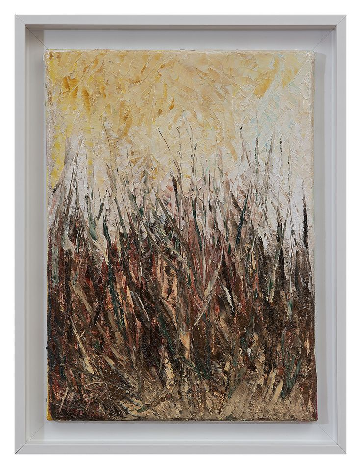 Fili d'erba - Olio su tela con cornice - 25x34