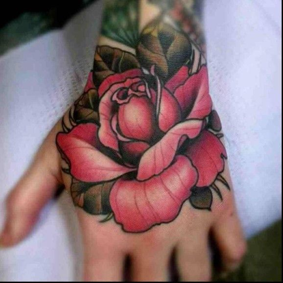 Neo-traditional Rose hand tattoo