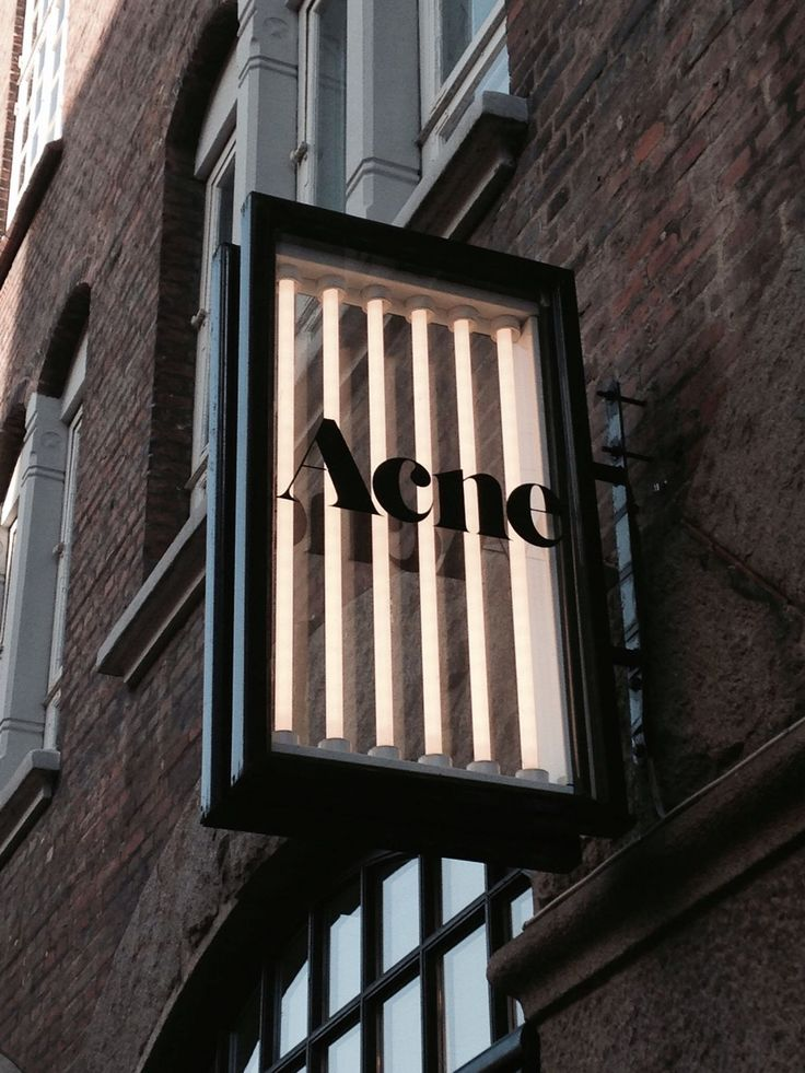Fiona Lynch_inspiration_Acne Signage: Layered illuminated glass box with black…
