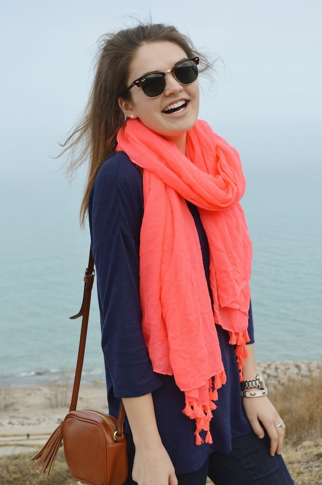 Navy tunic, coral scarf, brown purse (Citrus And Style)