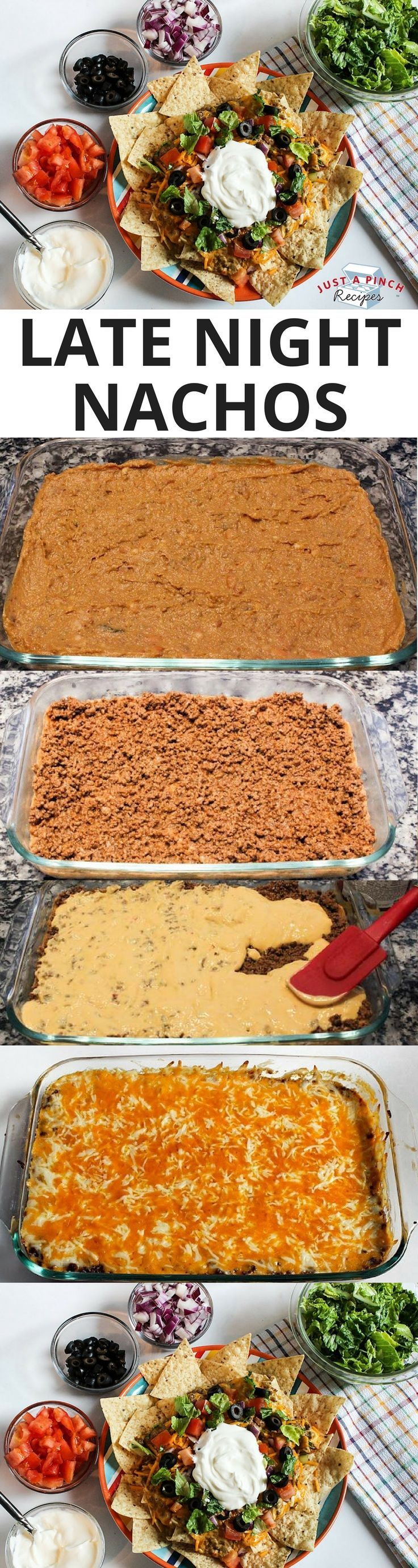The star is the layers of savory beans, taco meat, nacho cheese and shredded cheese. Once baked, it's ooey gooey deliciousness. Serve over your favorite tortilla chips with your favorite toppings and you have fantastic nachos. Perfect tailgating appetizer